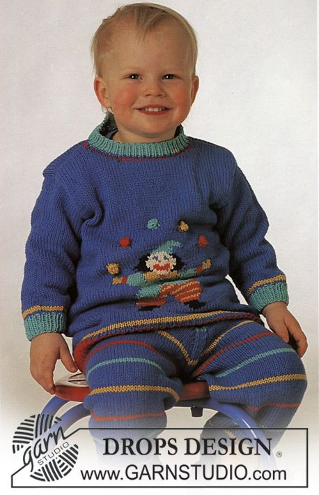 Drops Jumper With Clown Motif And Pants In Muskat Free Pattern By Drops Design Kinder Pullover Babyjunge Stricken Baby Stricken