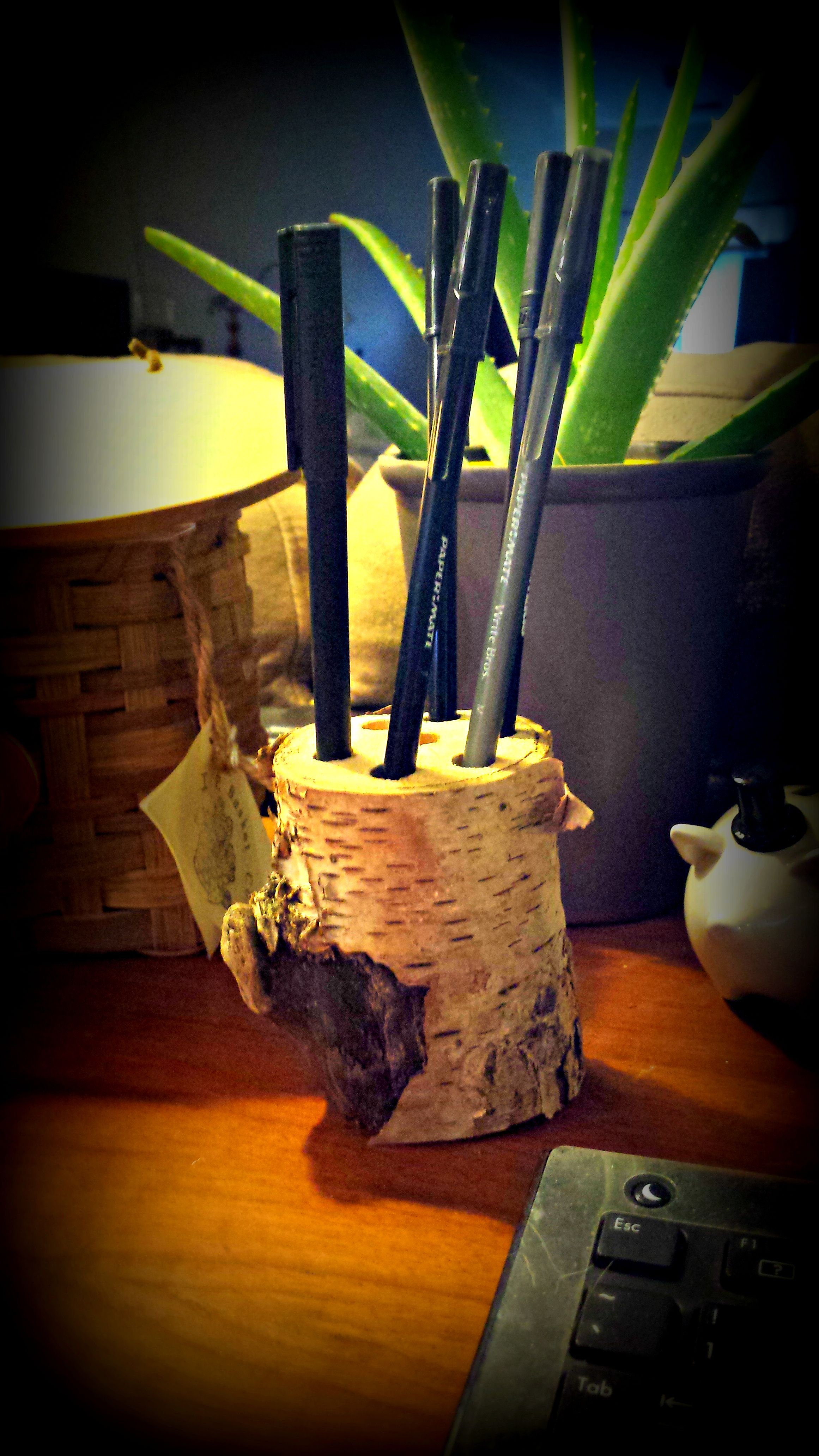 Salvaged driftwood pen pencil holder. Cute for your desk or counter top. Available at C.B. by Claire Haysley.  https://www.facebook.com/clairehaysley