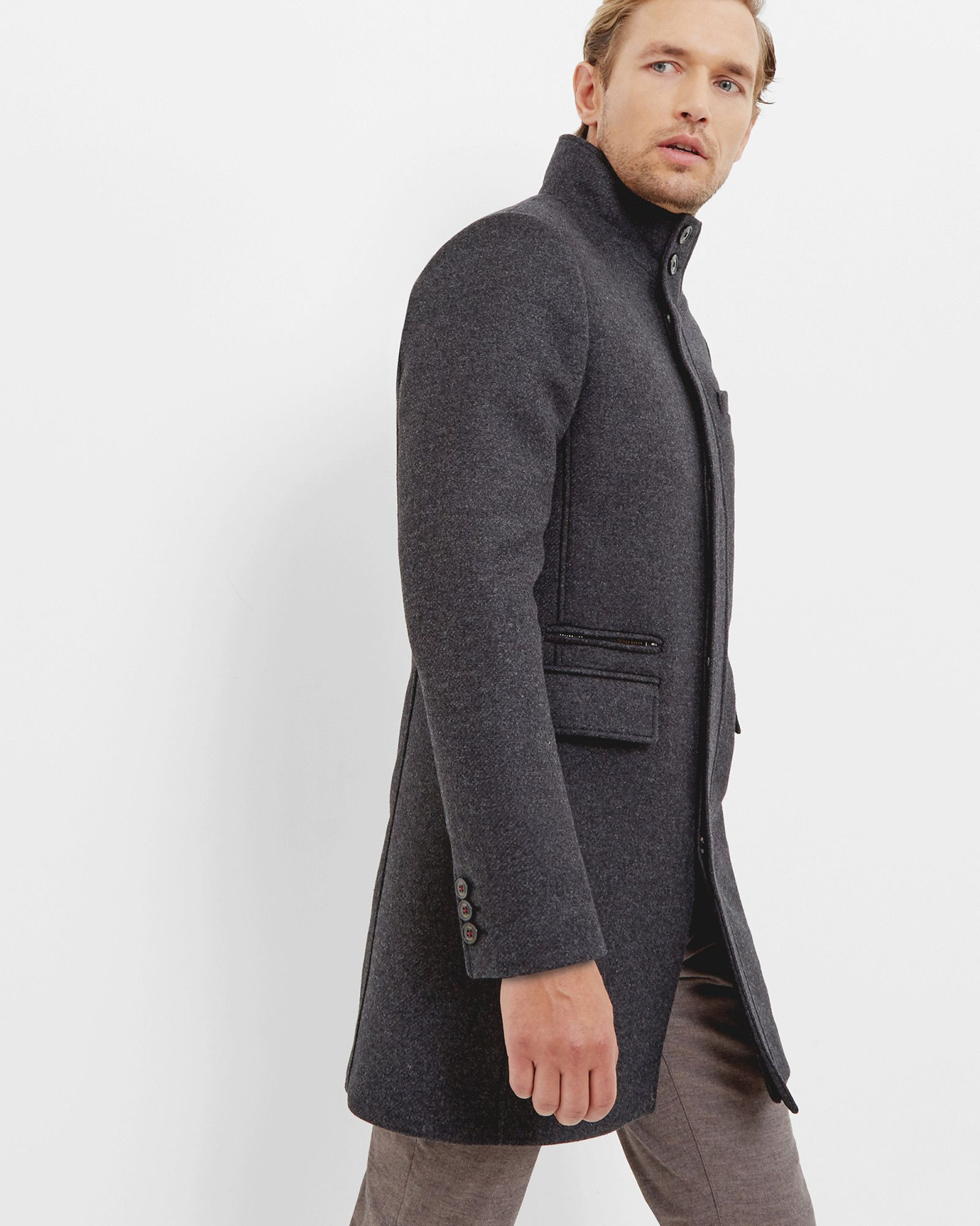 a88557e1303a Ted Baker Funnel neck wool-blend coat Grey