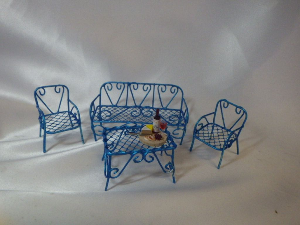Turquoise Blue Bench, 2 Chairs and Small Table Miniatures with Snack for Fairy Garden or Dollhouse Fun by SuesKreashions on Etsy