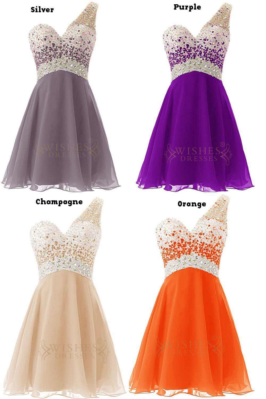 Sexy oneshoulder beaded bodice short prom dress am beauty