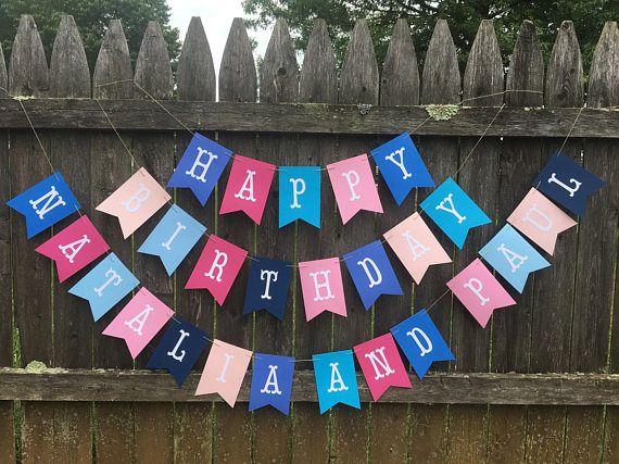 Happy Birthday banner Twins birthday banner Boy girl twins Twin