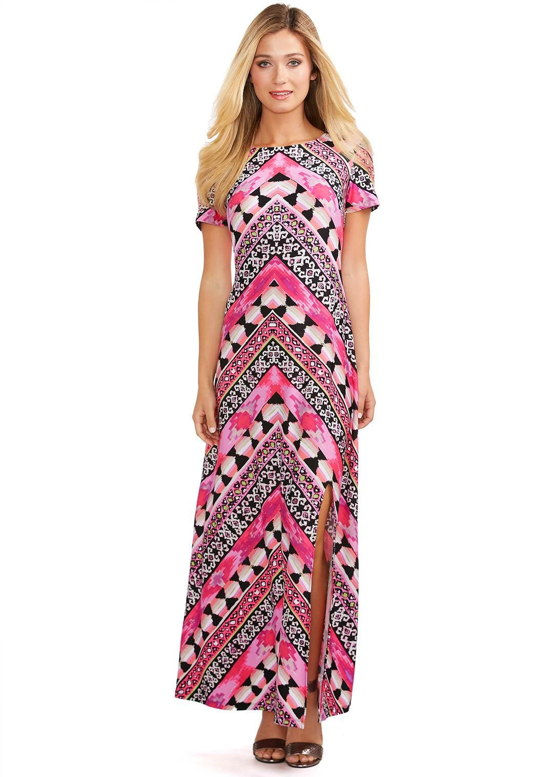 e9acba5eef0 Mixed Print Maxi Dress-Petite Dresses Cato Fashions