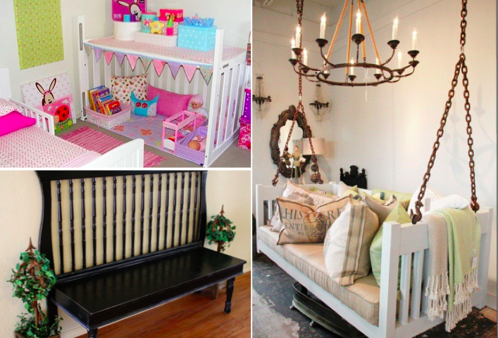 25 id es g niales et utiles pour recycler un lit de b b. Black Bedroom Furniture Sets. Home Design Ideas