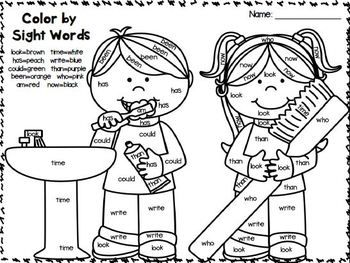 Freebies In The Preview Color By Sight Words February
