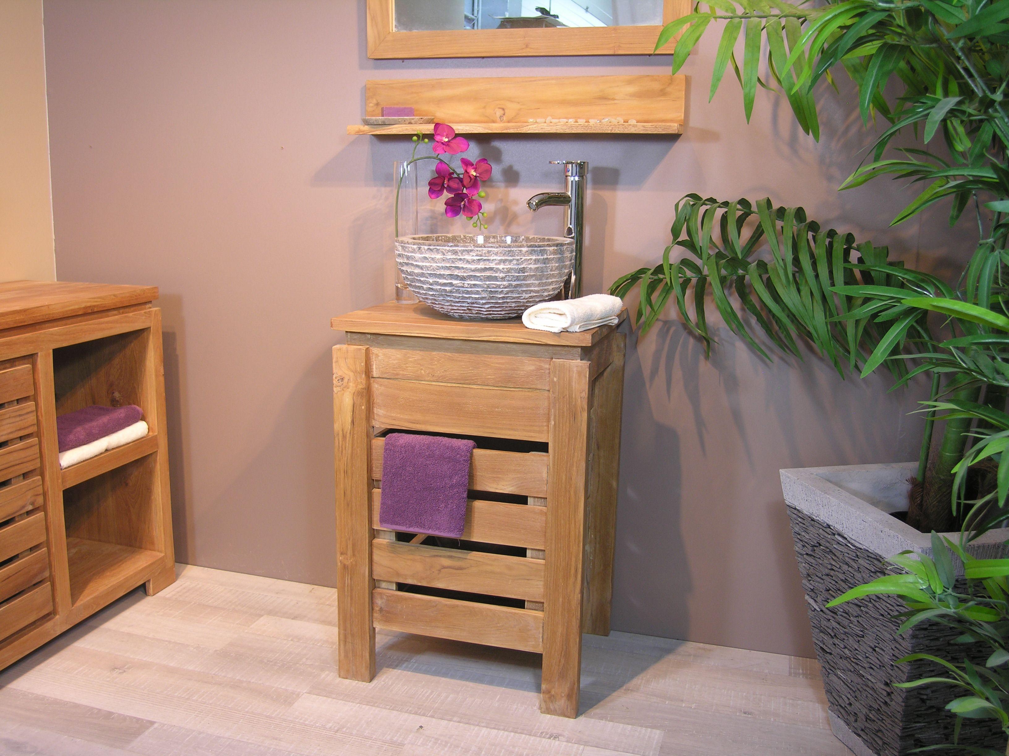 meuble zen salle de bain en teck 50 cm