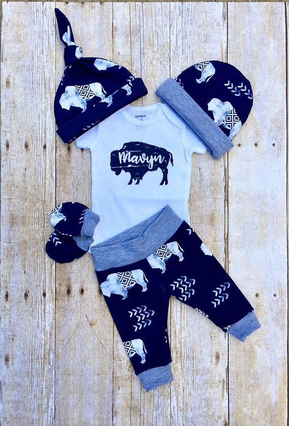 Photo of Baby Boys Coming Home Outfit, Buffalo Personalized Baby Boy Outfit,  Bison Newborn Boy Set, Baby Shower Gift, Baby Boy Layette and Hat Set