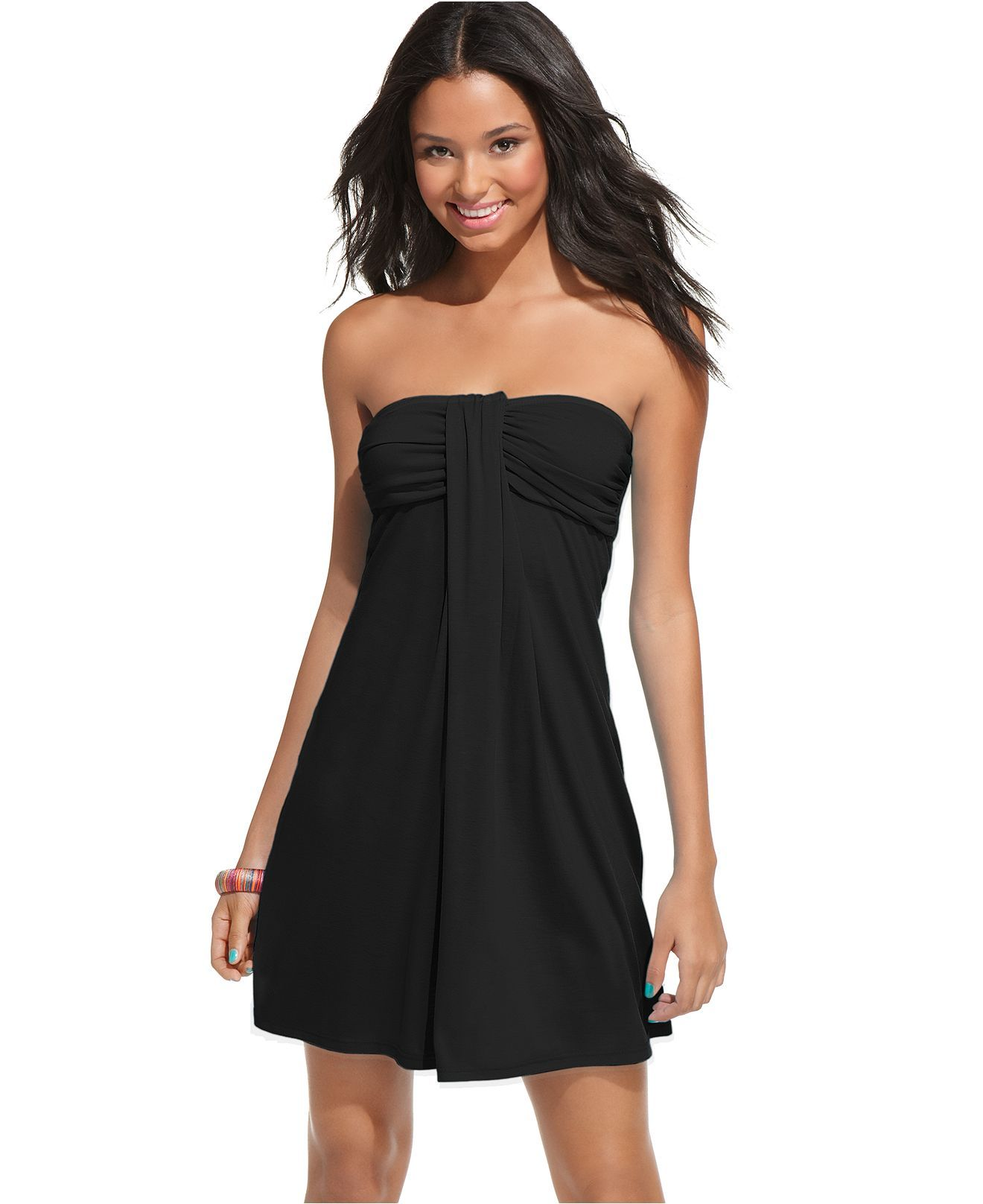 4a8ddbf4d4 Hula Honey Cover Up, Strapless Bandeau Ruched Empire A Line Dress - Womens  Swim - Macy's