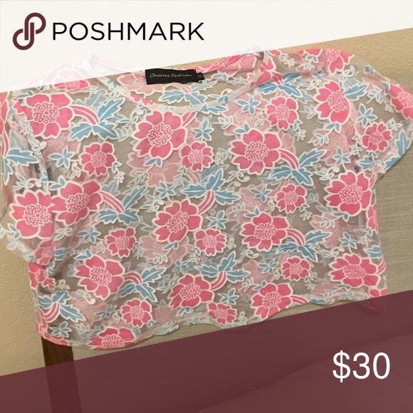 LF cropped vintage floral shirt see thru cropped vintage shirt with blue and pink floral print LF Tops Crop Tops