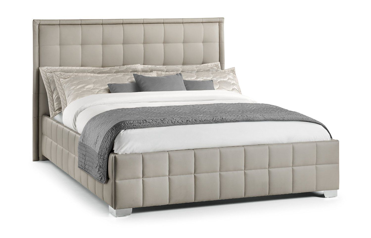 How Big Is A Queen Size Bed Uk Julian Bowen Knightsbridge Faux Leather Double Bed Taupe Amazon