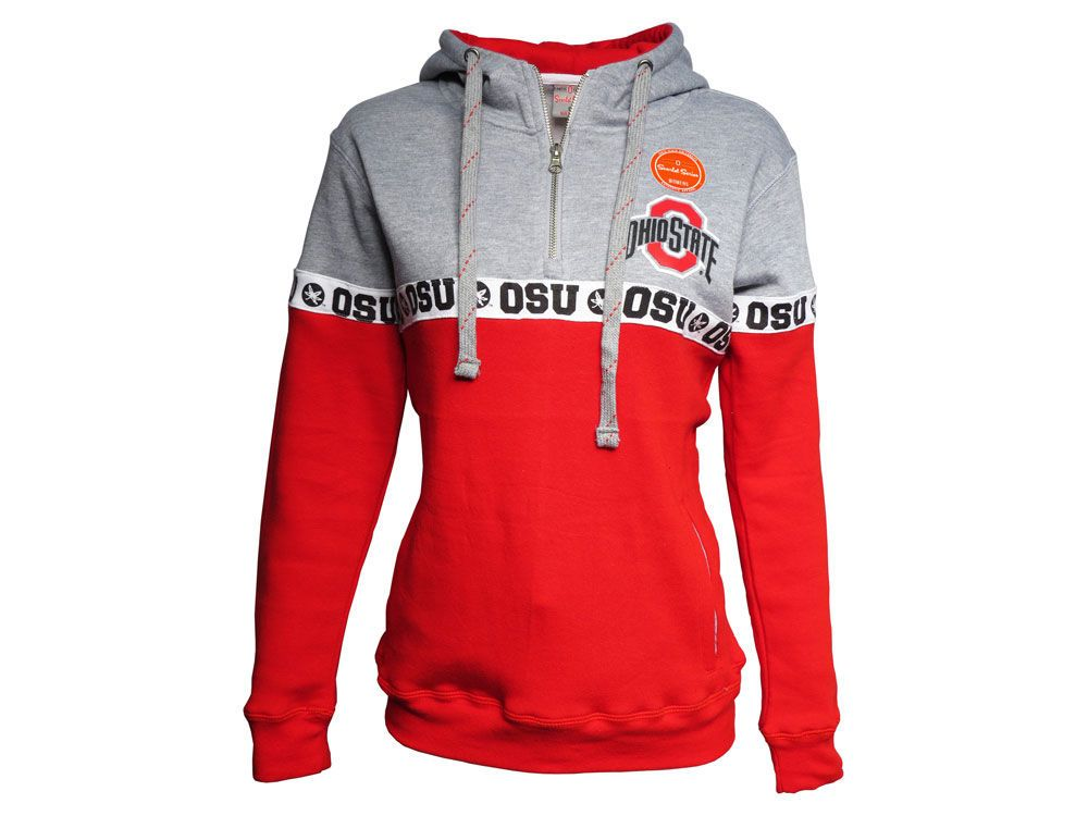 reputable site 16a55 b0ace Ohio State Buckeyes J America NCAA Women s Stripe Hooded Quarter Zip  Sweatshirt