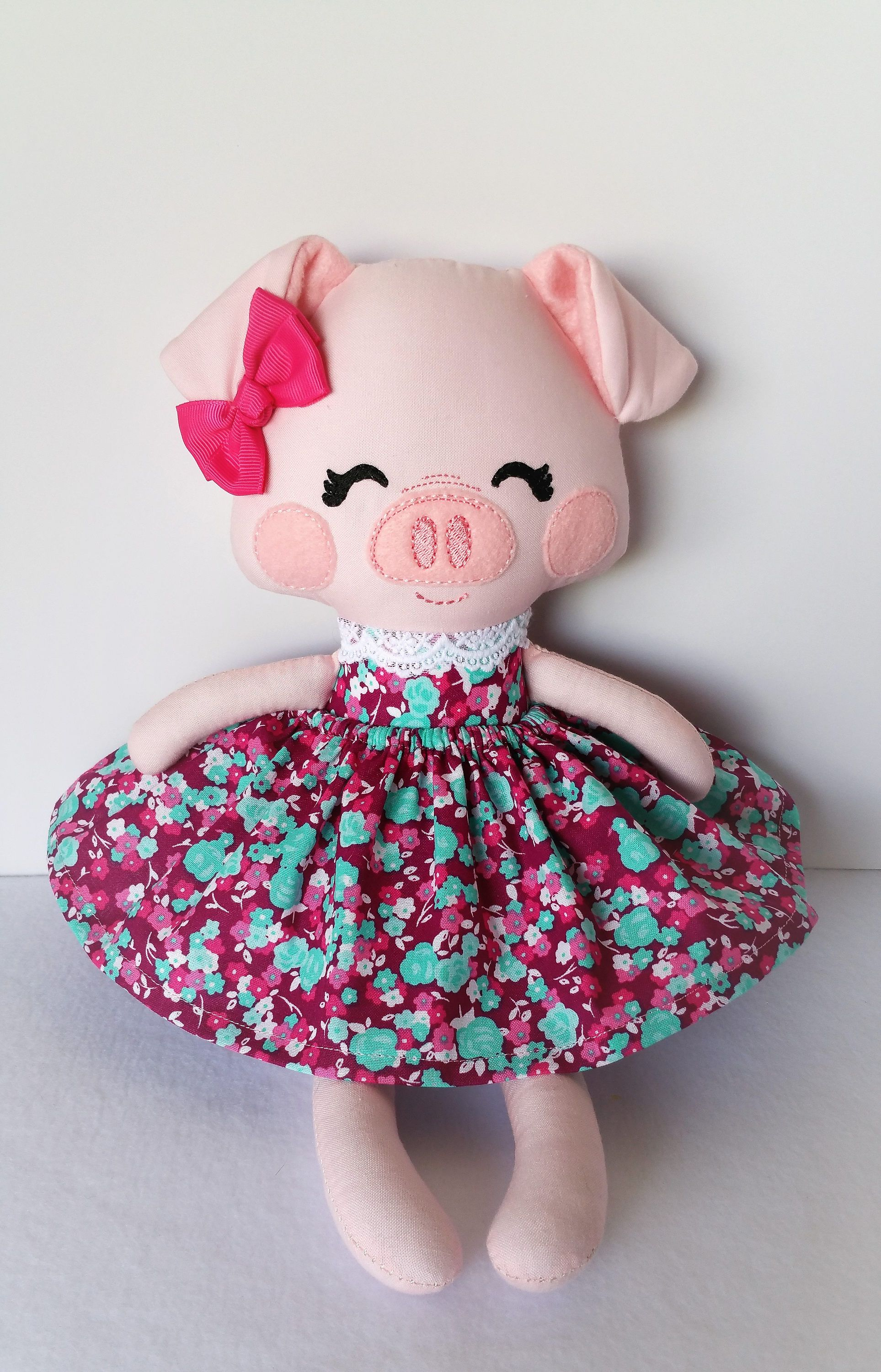 Handmade Rag Doll, Fabric Doll, Piggy READY TO SHIP by MyAlabasterBoxBoutiq on Etsy