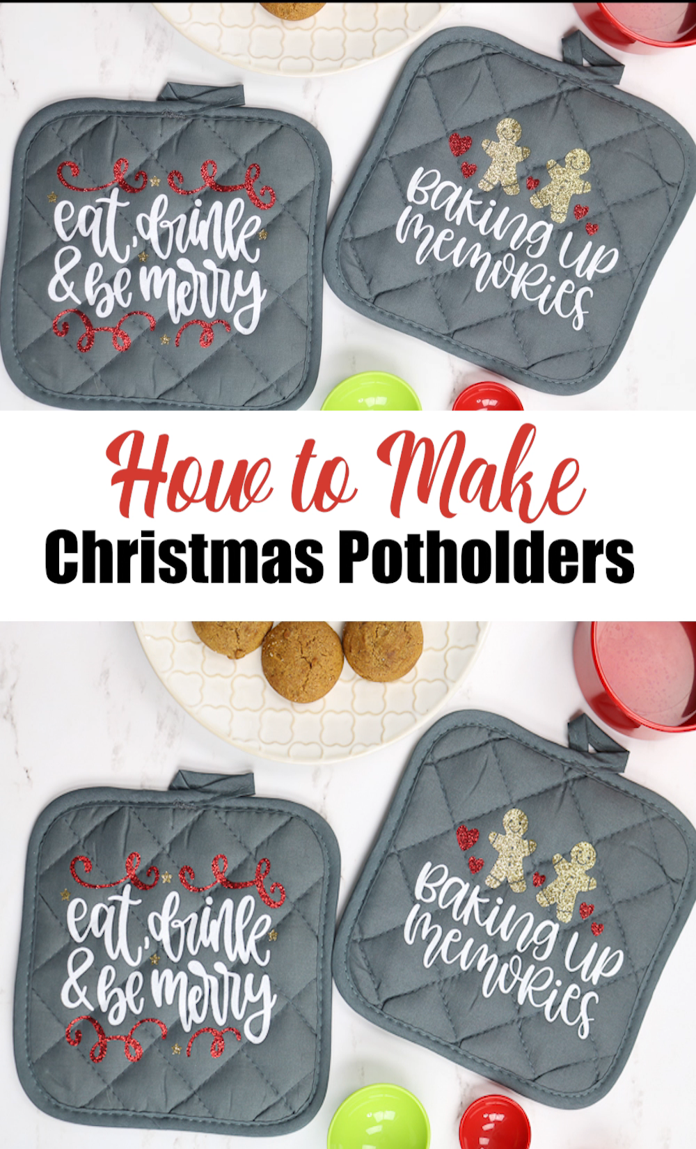 Want a quick and easy Christmas gift idea? Make Christmas potholders! Add them to a gift basket and you have a cute gift idea that everyone will love! Plus they are super inexpensive to make! Get the cut files for the ones shown when you click then link then start cutting these designs on your Cricut machine! #cricut #cricutcreated #cricutlove #cricutproject #heattransfervinyl #htv #glitter #kitchen #giftidea #christmasgift #christmas #gifts #holidays #cricutexplore #cricutmaker #cutfile