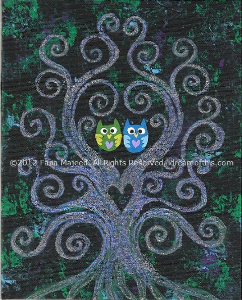 8x10 swirly tree & owl couple ♥