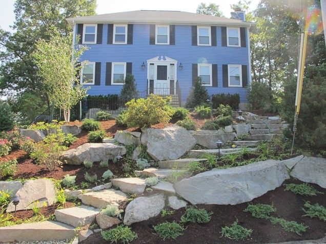 Garden Ideas New England sloping front yard, granite boulders front yard landscaping olde