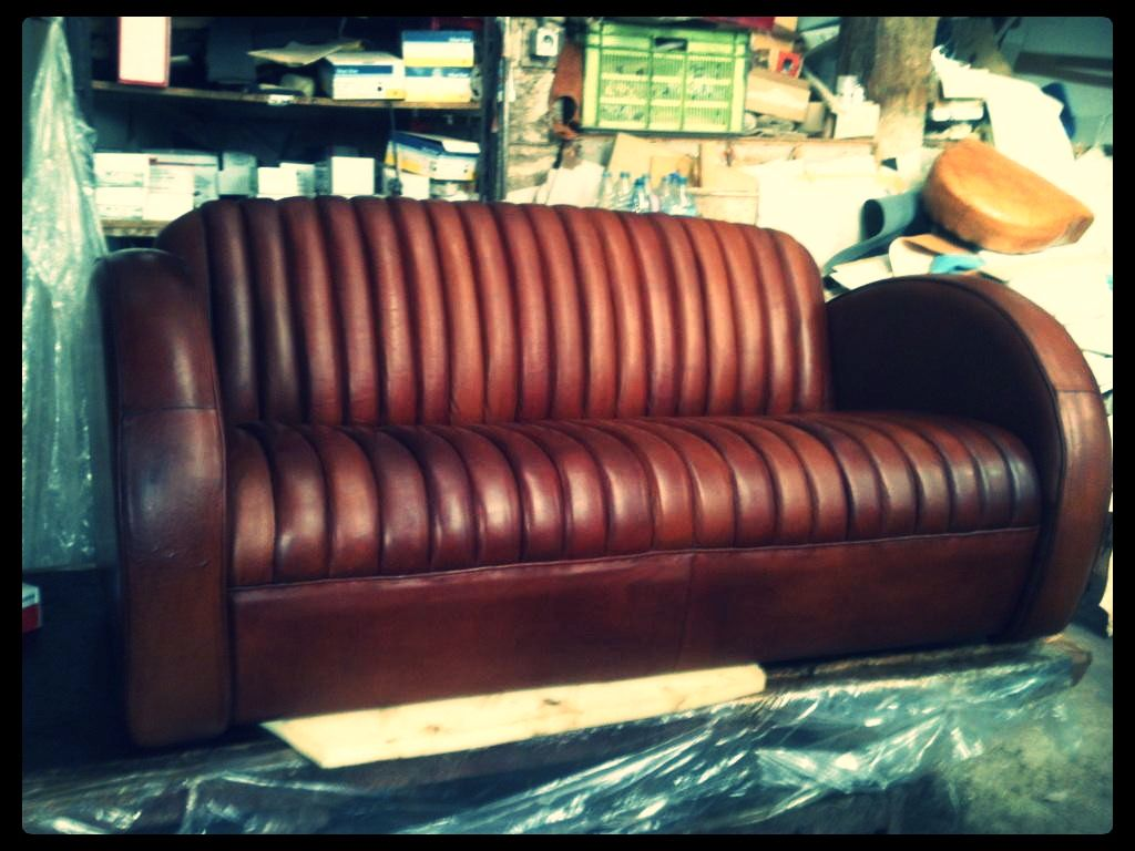 Canap cuir club cuir de mouton leather sofa made in - Canape cuir made in france ...