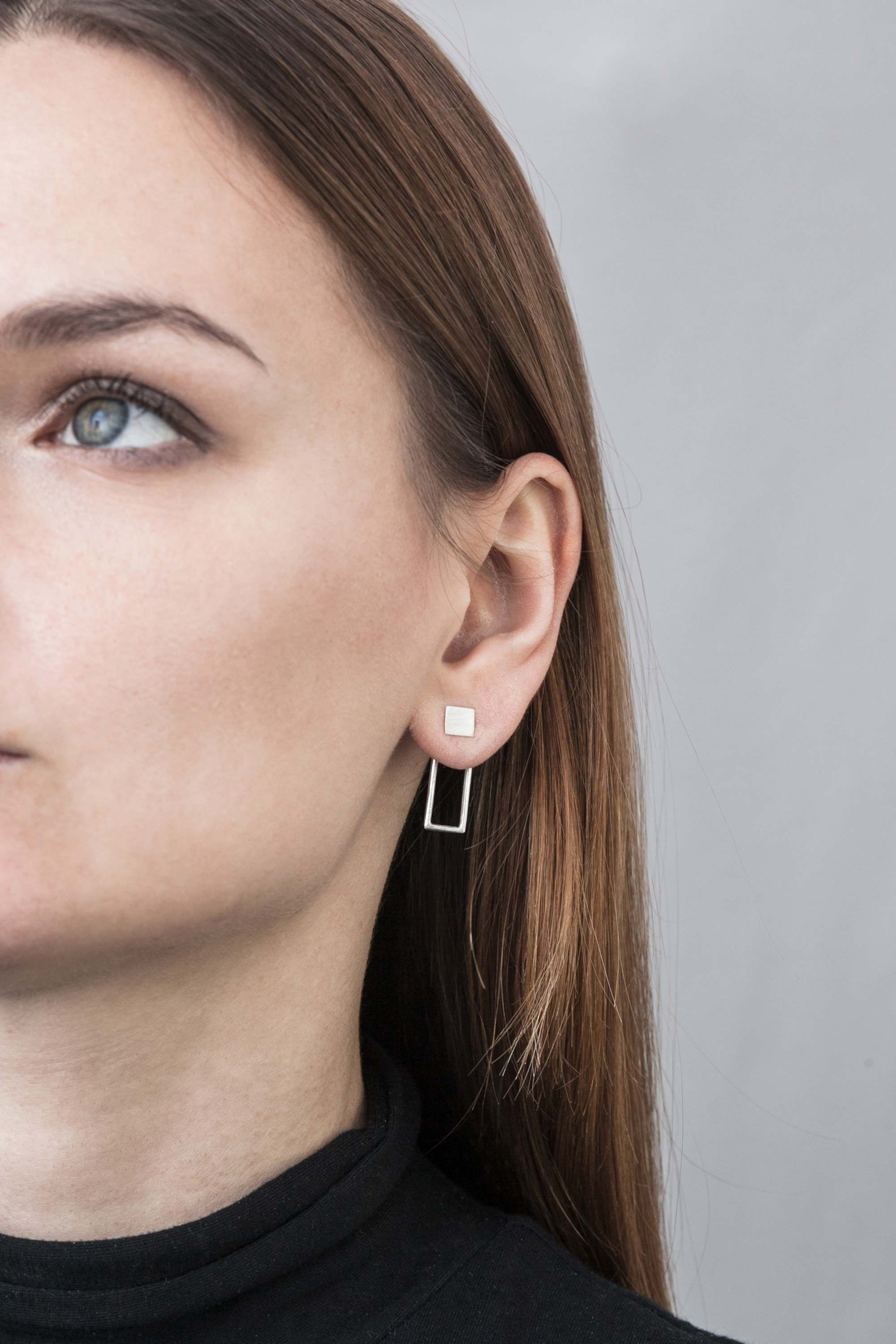 Double sided nose piercing  Double Rectangle  by Magdalena Paszkiewicz  earrings  silver