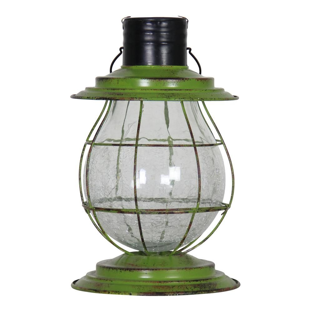 Exhart Solar Firefly Lantern Light With Base Green 12262 The Home Depot