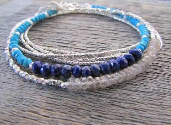 turquoise & lapis bracelet lapis lazuli bracelet by earthwatersol