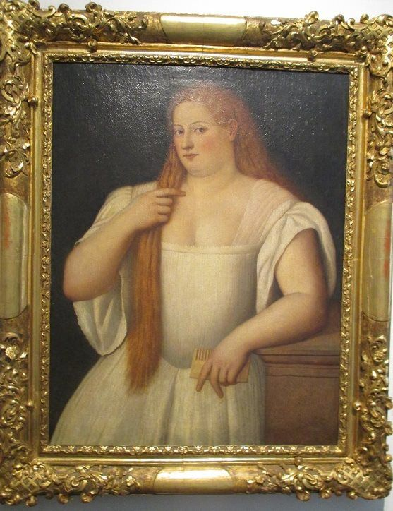 Woman combing her hair by Bernardino Licinio? Big discussion about this venetian lady in her underclothes - not a white gown. Did venetian women use a corded or pleated underdress? Curiouser and curiouser!