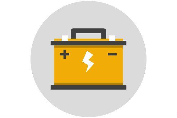 Car Battery Flat Icon Car Battery Battery Logo Jump A Car Battery