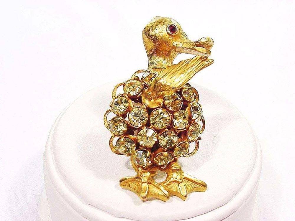 Vintage Original by Robert Rhinestone Duck Pin with Moving Wing Detailed ~ Xlnt #OriginalbyRobert