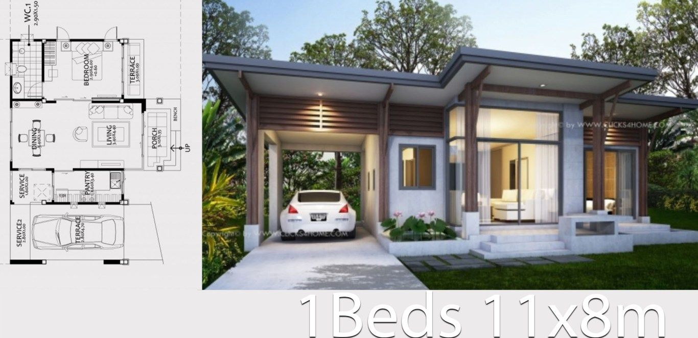 Home Design Plan 11x8m With One Bedroom Home Ideas Home Design Plan House Design One Storey House