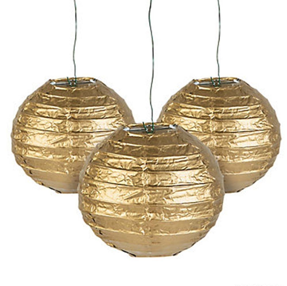 Paper Lanterns Wedding Decoration Ideas: 12 Gold Paper Chinese Lanterns Centerpieces Wedding Party