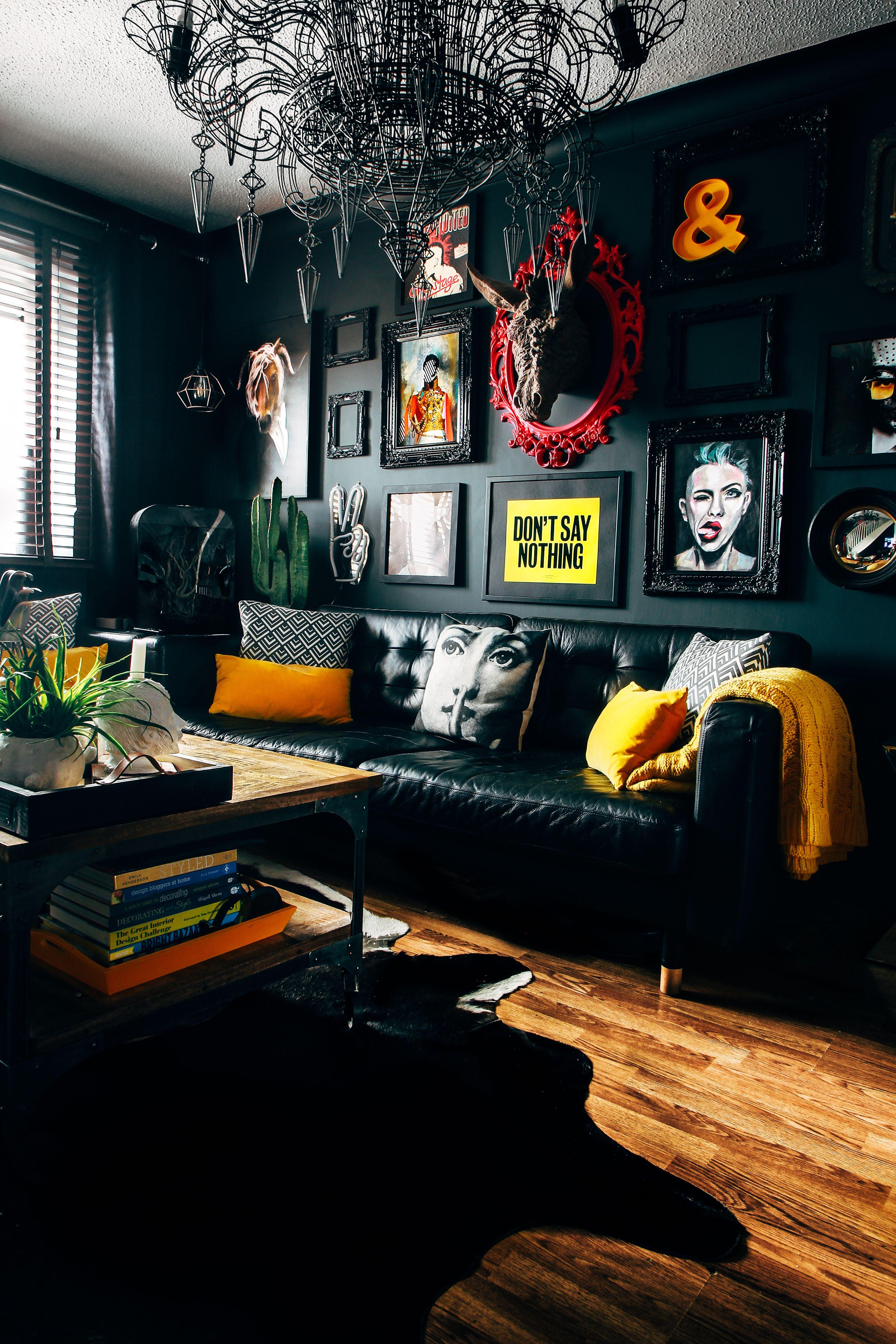 9 gorgeous grey living room ideas  Funky home decor, Dark grey