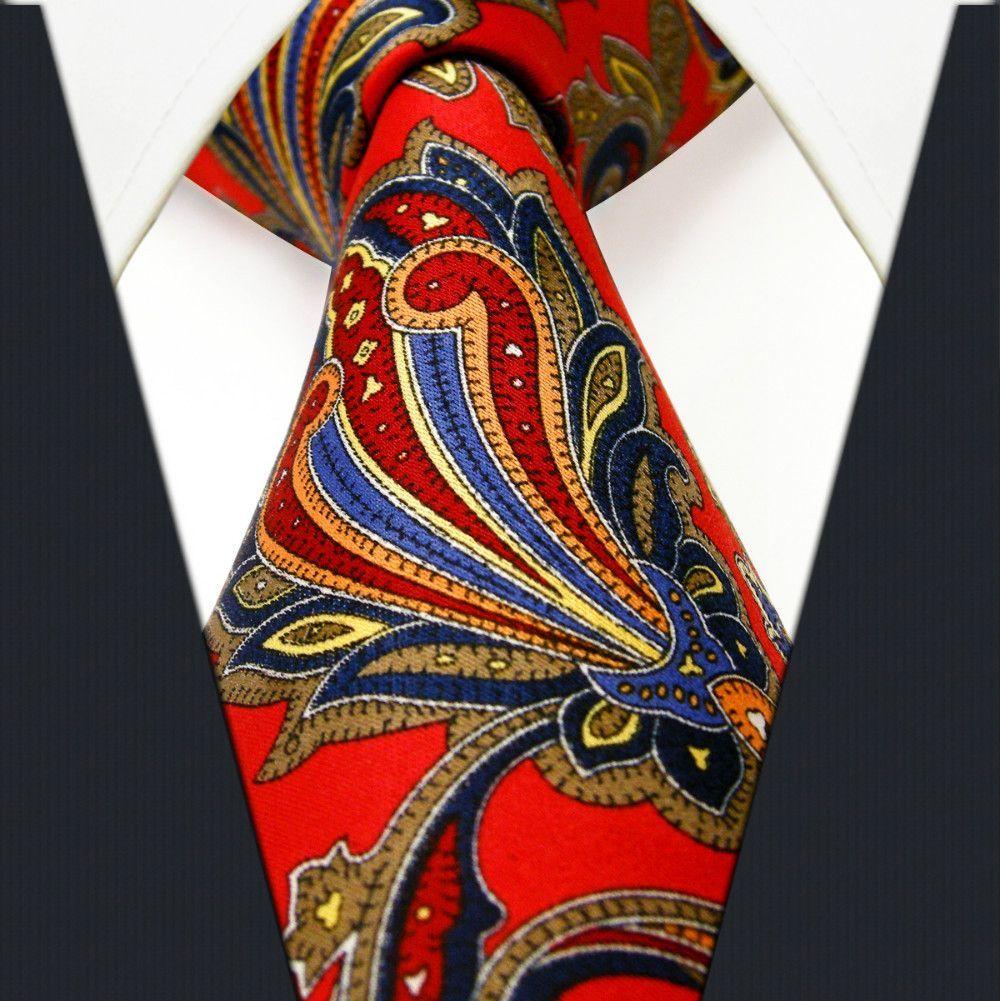 004c044f3a56 Floral Red Crimson Khaki Yellow Blue Azure Mens Ties Necktie Printing  Handmade New