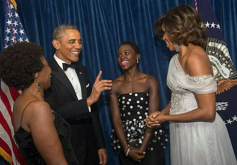 Image result for Lupita Nyongo and Ex-President Obama