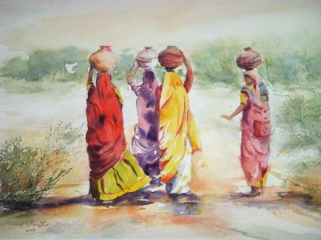 Indiennes Peinture 28x38 Cm C 2008 Par Le Forestier