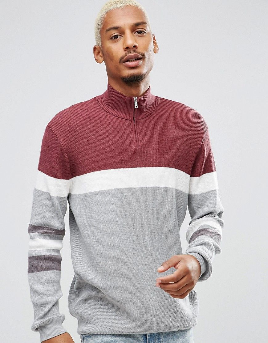 27232da1cc5 ASOS Ribbed Half Zip Sweater In Burgundy And Charcoal - Red | Great ...