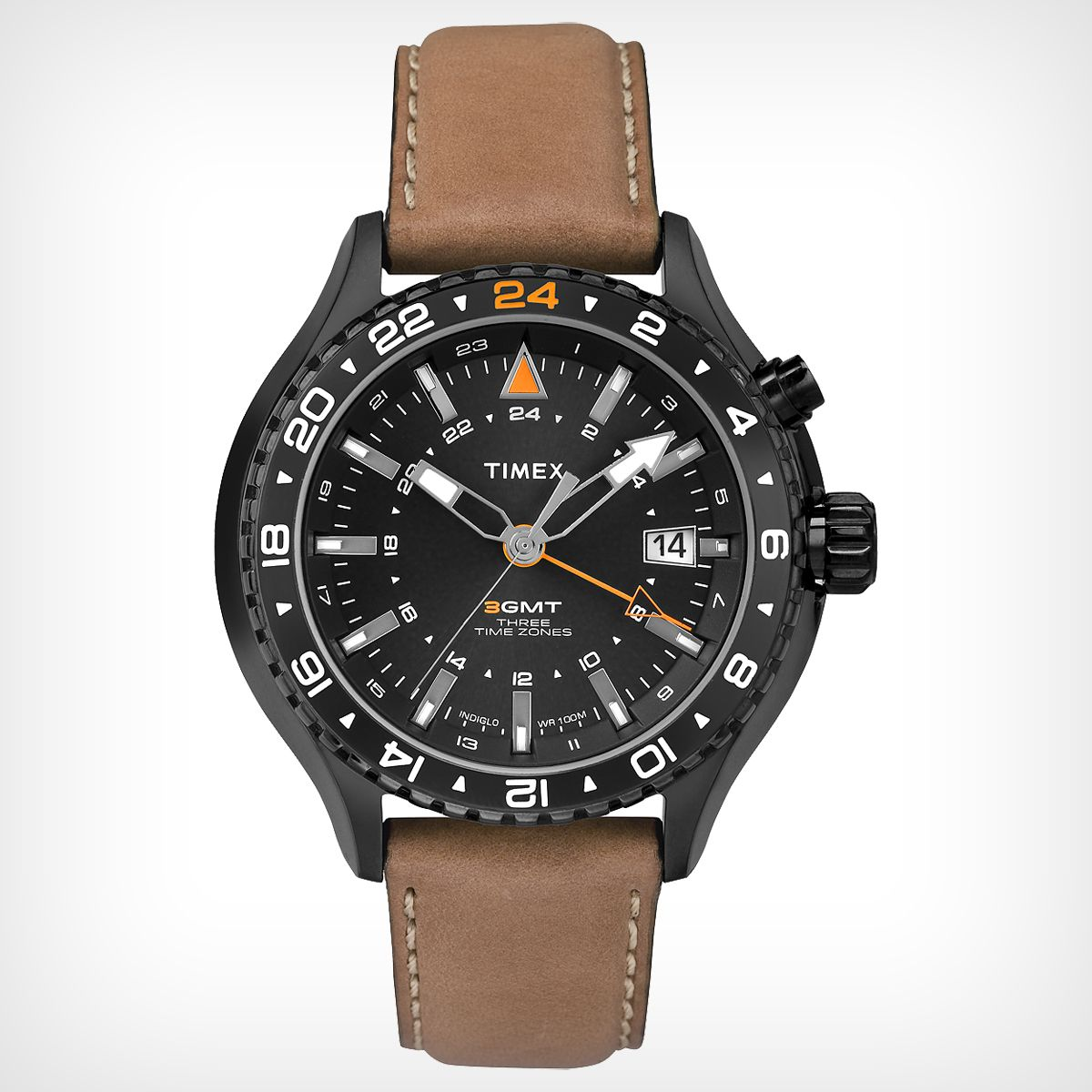The Unique Fourth Center Hand And Turning Top Ring Allow You To Set A Second And Third Time Brown Leather Strap Watch Mens Watches Leather Brown Leather Watch