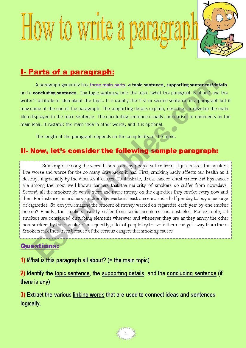 How To Write A Paragraph A Tasksheet With Two Nice Sample Paragraphs Esl Worksheet By Zahmonino Paragraph Writing Topics Paragraph Writing Writing Rubric