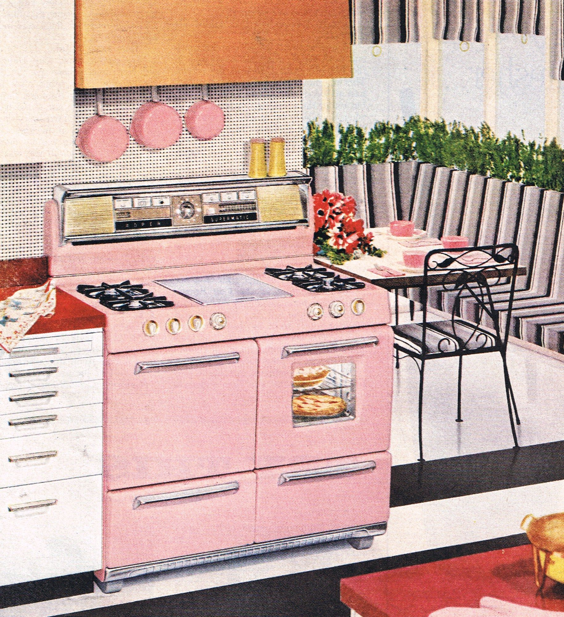 Best Stylish Pink Roper Stove And Eating Area 1959 Retro 640 x 480