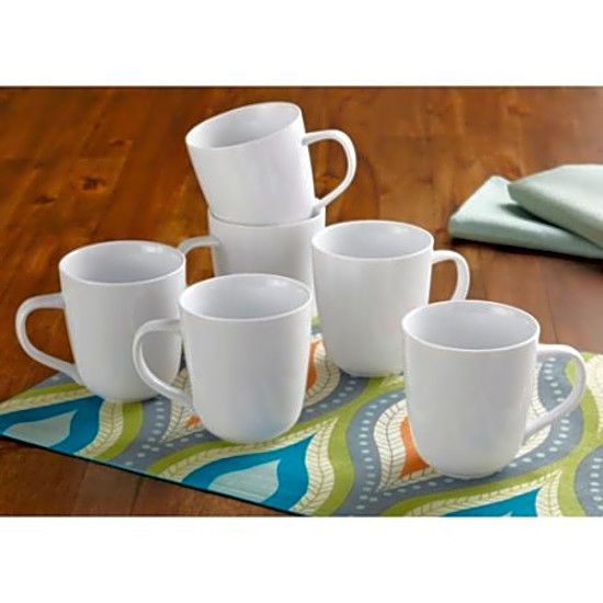 Mothers Day Gift Top Quality Round Rim Mugs White Set of 6 Kitchen Drinkware New #BetterHomesandGardens