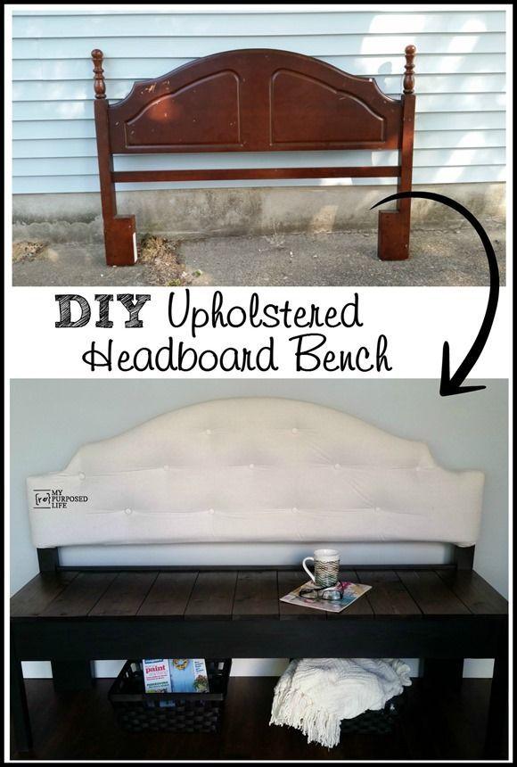 Cool Tufted Upholstered Headboard Bench Repurposed Household Customarchery Wood Chair Design Ideas Customarcherynet
