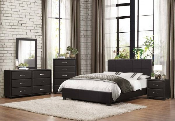 Lorenzi Contemporary Black Wood Vinyl Master Bedroom Set Bedrooms