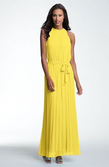 Donna Morgan Pleated Halter Chiffon Maxi Dress | Nordstrom