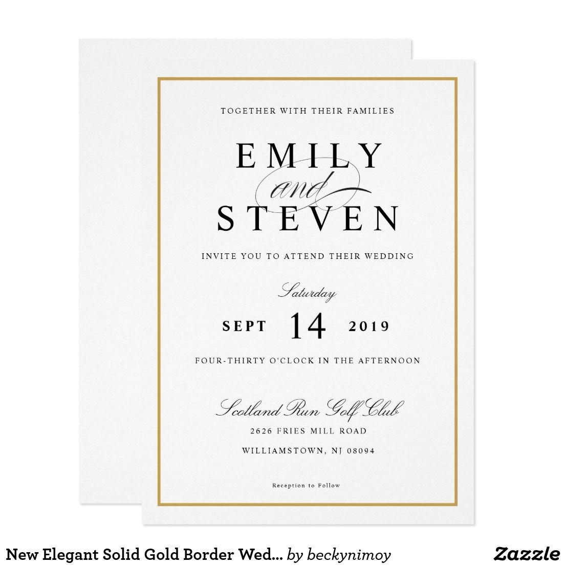 New Elegant Solid Gold Border Wedding Card