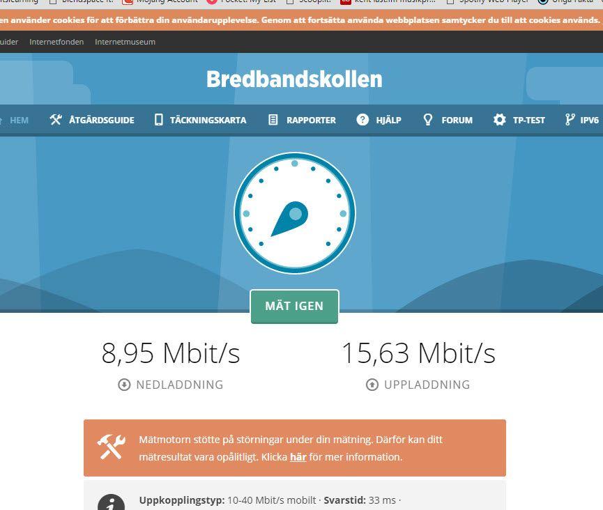 testa hastighet bredband
