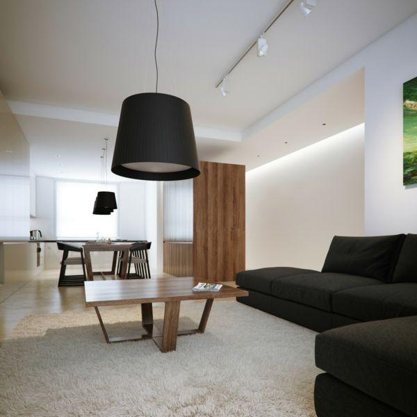 Entzuckend Wohnzimmer Lampe Schwarzer Lampenschirm Schwarzes Sofa Weiße Wangestaltung