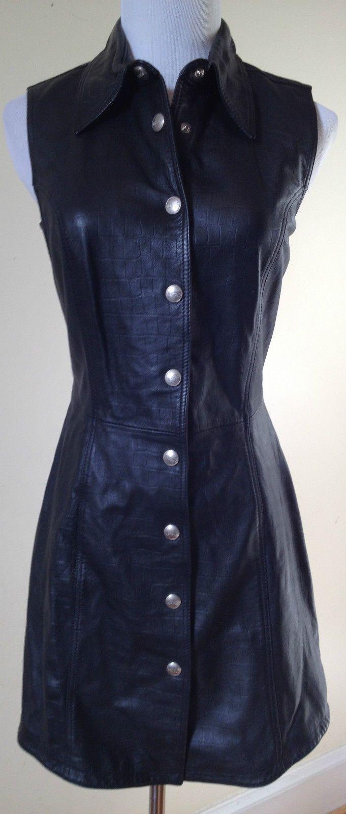 Gianni Versace Versus Ittierre Black Leather 90s Snap Front Dress 28 42 S |  eBay