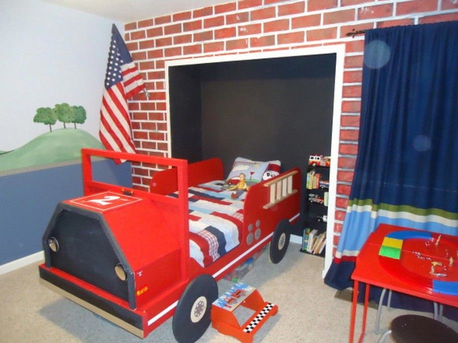 Bedroom Funny Kids Bedroom Design With Fire Truck Bed Kids Room Interior Kid Bedroom Designs Cool Toddler Bedroom Design Boy Bedroom Design Cool Boys Room