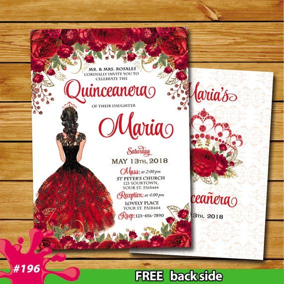 Quinceañera red gold invitation sweet 15 red Princ