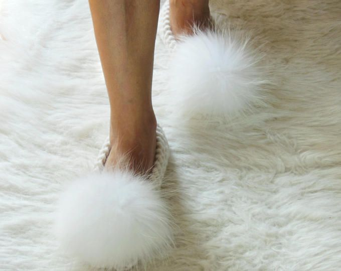 FAUX or REAL Raccoon fur Pom-poms, ALPACA chunky slippers, Furry Slippers, Knitted, Non-Slip Slippers, Crochet Womens Slippers, Gift Wrapped