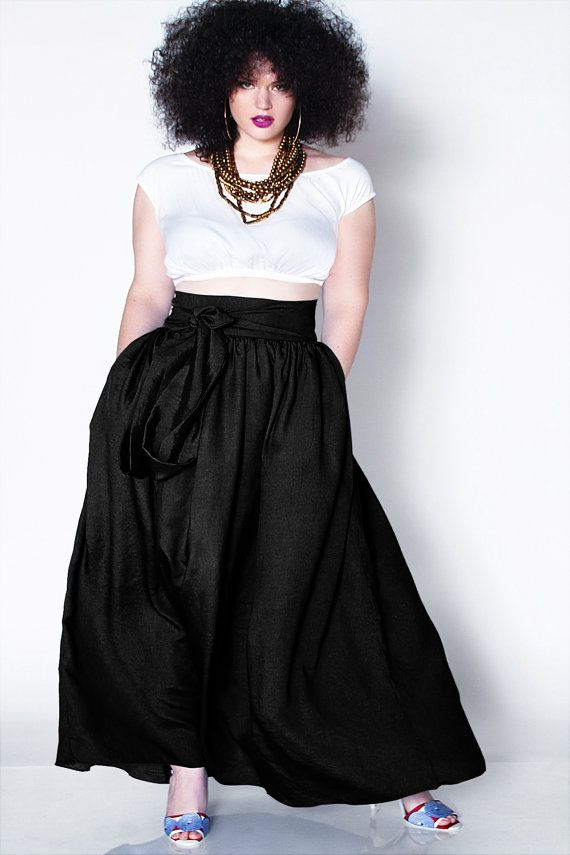 JIBRI Plus Size high waist maxi skirt with chic side pockets and attached  wrapped belt.