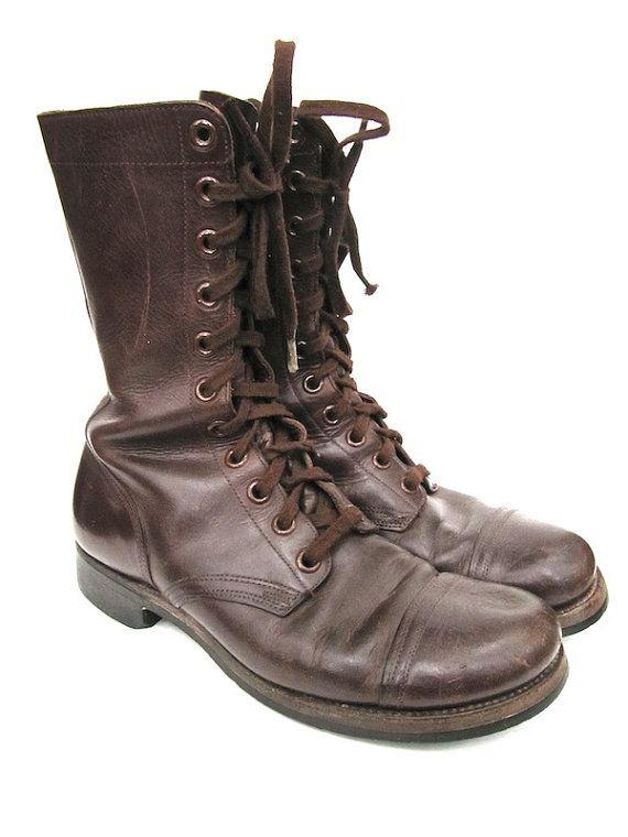82eae19f94 Endicott Johnson Brown Combat Boots Mens Size 9.5 R | Vintage ...