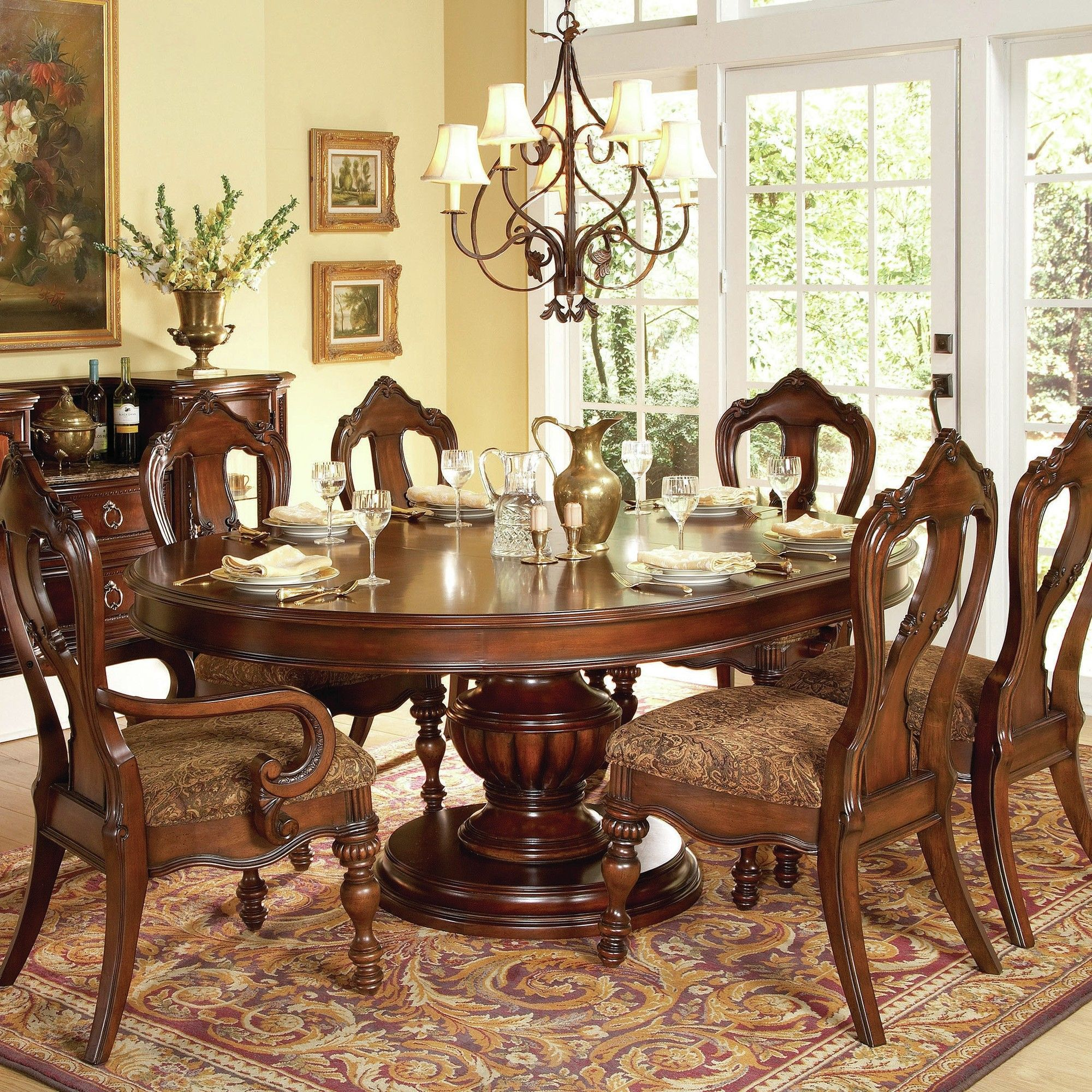 Home Elegance Prenzo Collection Round / Oval Pedestal Dining Table